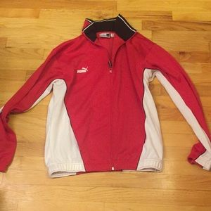 Men's Puma red and white track jacket. Size large